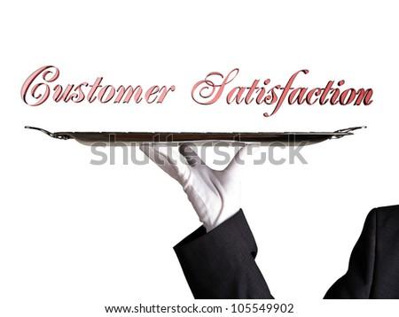 Customer Satisfaction 3D text dinner tray - stock photo
