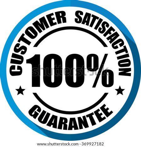 Customer Satisfaction guarantee blue, Button, label and sign. - stock photo