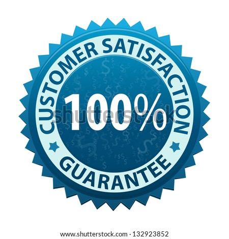 Customer satisfaction guarantee icon or symbol isolated on white background - stock photo