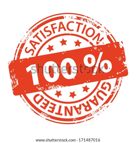 Customer satisfaction guaranteed 100 percent rubber stamp icon isolated on white background. Illustration - stock photo