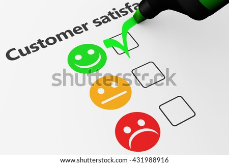 Customer satisfaction happy feedback rating checklist and business quality evaluation concept 3D illustration.