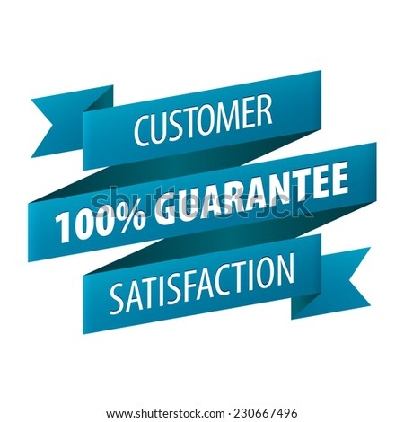 Customer Satisfaction 100 percent Guarantee tag ribbon banner icon isolated on white background. illustration