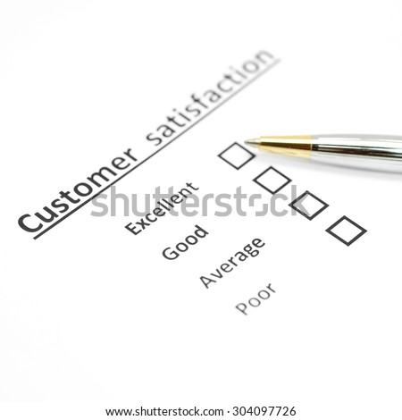 customer satisfaction survey form with the pen checked excellent in checkbox