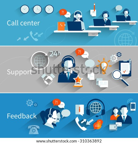 Customer service banners set with call center support feedback isolated  illustration - stock photo