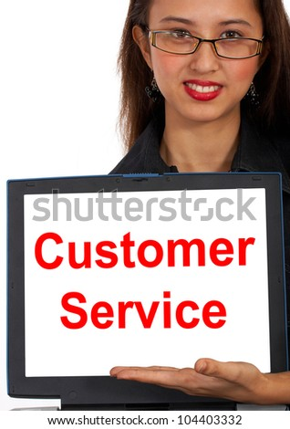 Customer Service Computer Message Showing Online Internet Help - stock photo