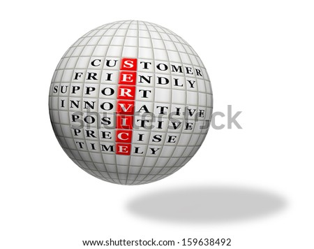 customer service concept,acronym text  on 3d sphere - stock photo