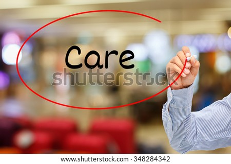 customer service concept.businessman writing service care On Screen - stock photo