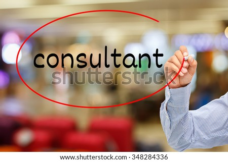 customer service concept.businessman writing service  consultant On Screen - stock photo