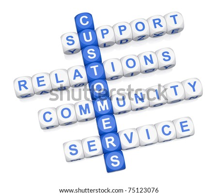 Customer service crossword 3D on white background