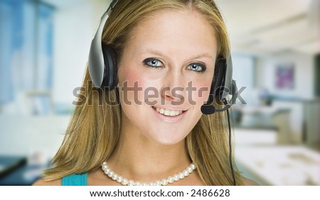 customer service girl greeting customers through her headset