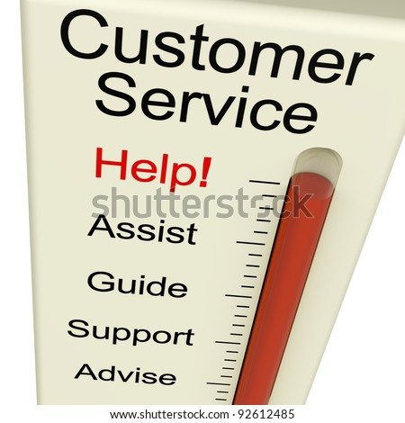 Customer Service Help Monitor Shows Assistance Guidance And Support - stock photo