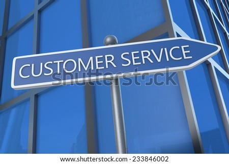 Customer Service - illustration with street sign in front of office building. - stock photo