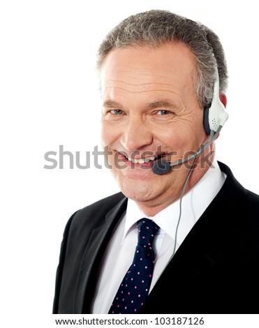 Customer service male operator smiling. Closeup shot - stock photo