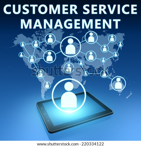 Customer Service Management illustration with tablet computer on blue background - stock photo
