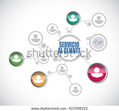 Customer service network sign in Spanish illustration design graphic - stock photo
