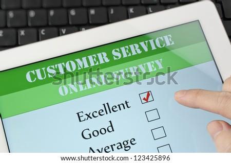 Customer service on-line survey on screen - stock photo