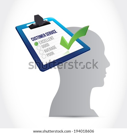 customer service on my mind concept illustration design over a white background - stock photo