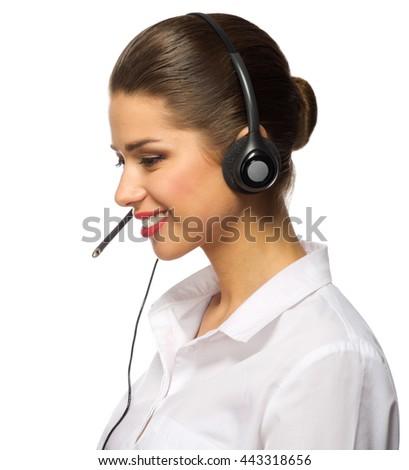 Customer service operator isolated on white - stock photo