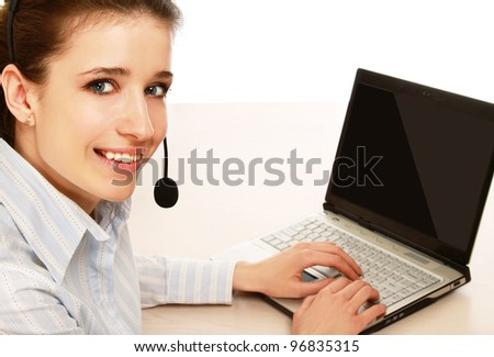 Customer service operator isolated on white background - stock photo