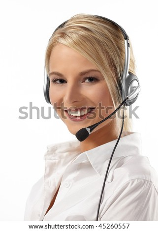Customer Service Operator-Isolated over a White Background - stock photo
