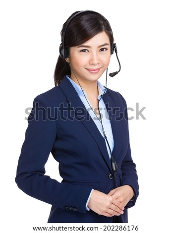 Customer service operator with headset - stock photo