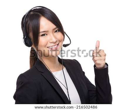 Customer service operator with thumb up