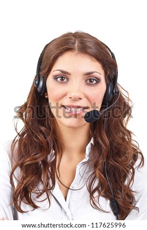 Customer service operator woman with headset - stock photo