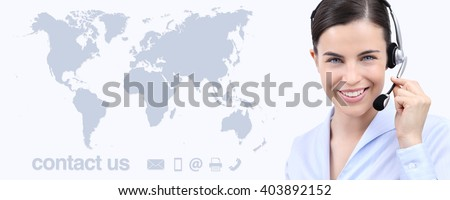 Customer service operator woman with headset smiling, world map on background, contact us concept - stock photo