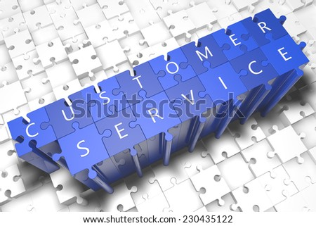 Customer Service - puzzle 3d render illustration with block letters on blue jigsaw pieces