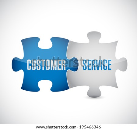 customer service puzzle pieces illustration design over a white background - stock photo
