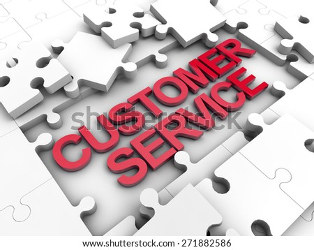 Customer Service puzzle tiles over white background - stock photo