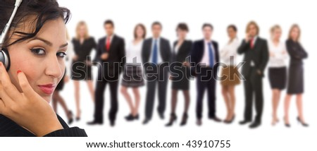 customer service representative and big team of business people - stock photo