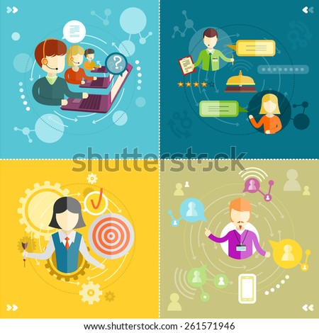 Customer service representative at computer in headset. Online support. Phone operator. Individual approach. Support centerand efficiency. Customer support interactivity in flat design. Raster version - stock photo