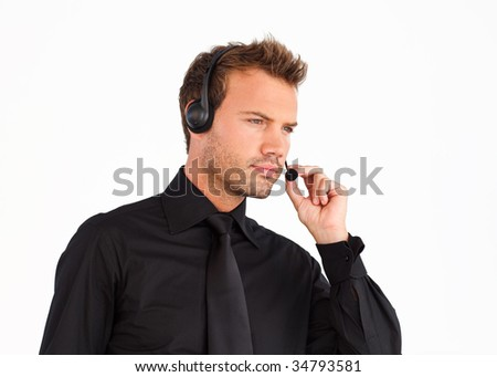 Customer service representative man with a headset on - stock photo