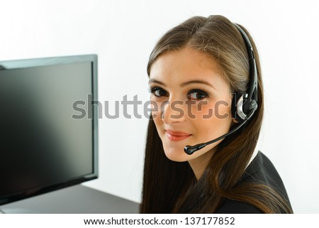 Customer Service Representative Smiling and Helping People