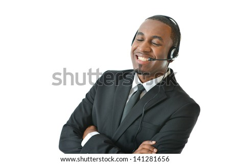 Customer Service Representative Speaking and Smiling - stock photo