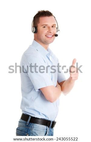 Customer service representative wearing a headset - stock photo