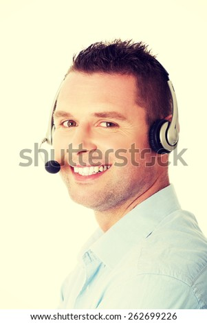 Customer service representative wearing a headset - stock photo
