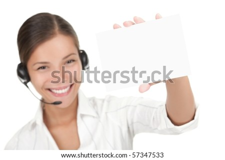 Customer service representative with headset holding a blank empty card. Isolated on white background. - stock photo