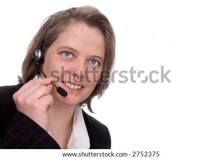 Customer service Representative with headset isolated on white - stock photo
