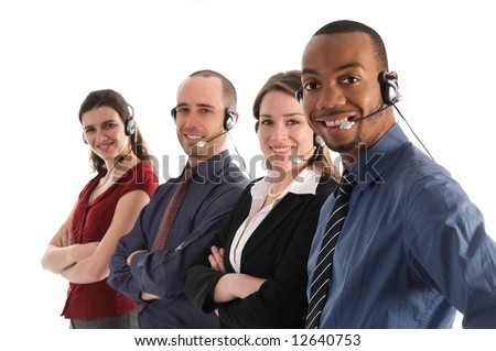 customer service representatives on a white background - stock photo