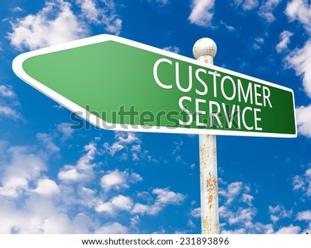 Customer Service - street sign illustration in front of blue sky with clouds. - stock photo