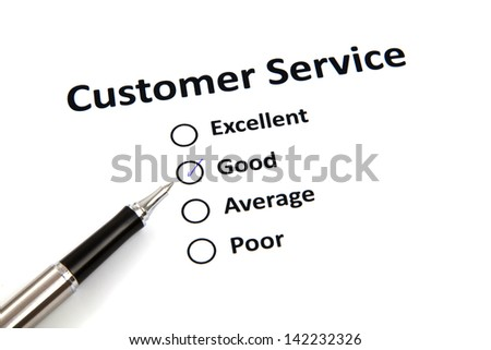 customer service survey with checkbox - stock photo