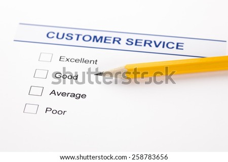 Customer Service Survey with pencil. - stock photo