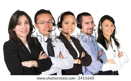 customer service team over white - focus on first lady - stock photo