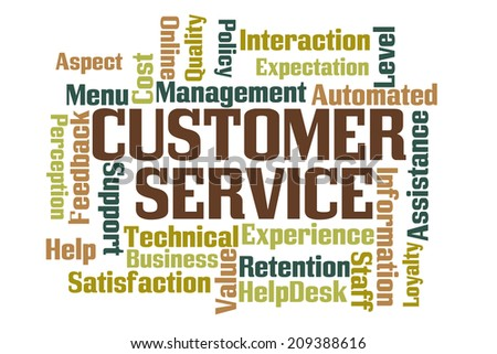 Customer Service Word Cloud on White Background - stock photo