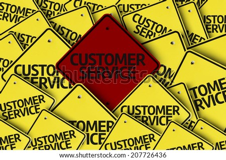 Customer Service written on multiple road sign  - stock photo