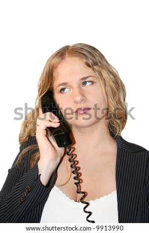 Customer Service. Young businesswoman on phone in the office - stock photo