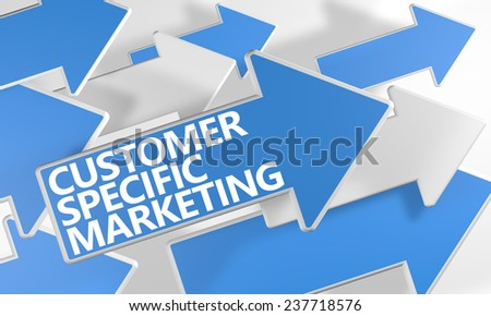 Customer Specific Marketing 3d render concept with blue and white arrows flying over a white background. - stock photo