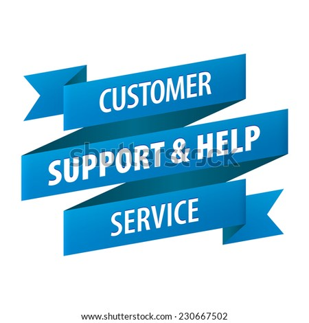 Customer Support and Help Service tag ribbon banner icon isolated on white background. illustration